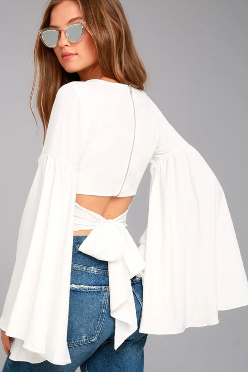 Bell Sleeve Tie Back White Blouse