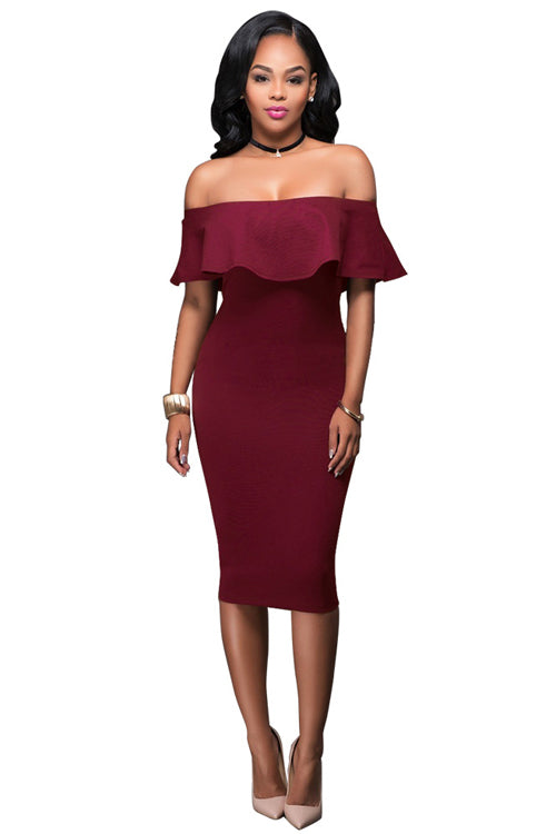 Ruffle Shoulder Wrap Midi Dress