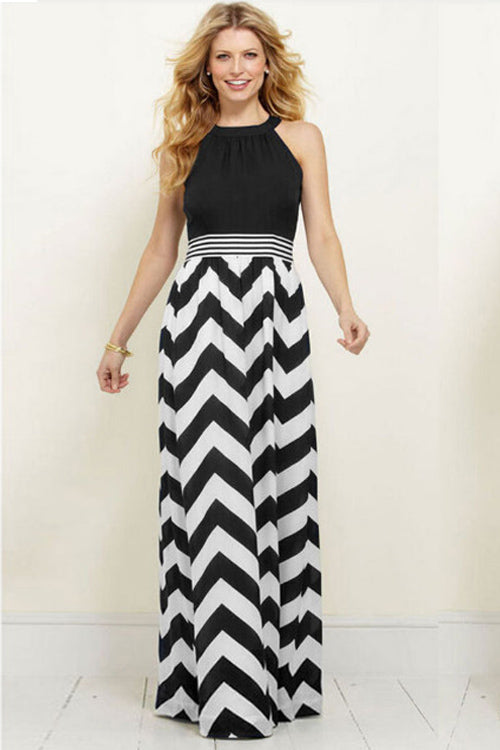 Stripe Halter Neck Maxi Dress
