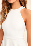 White Backless Halter Neck Mini Dress