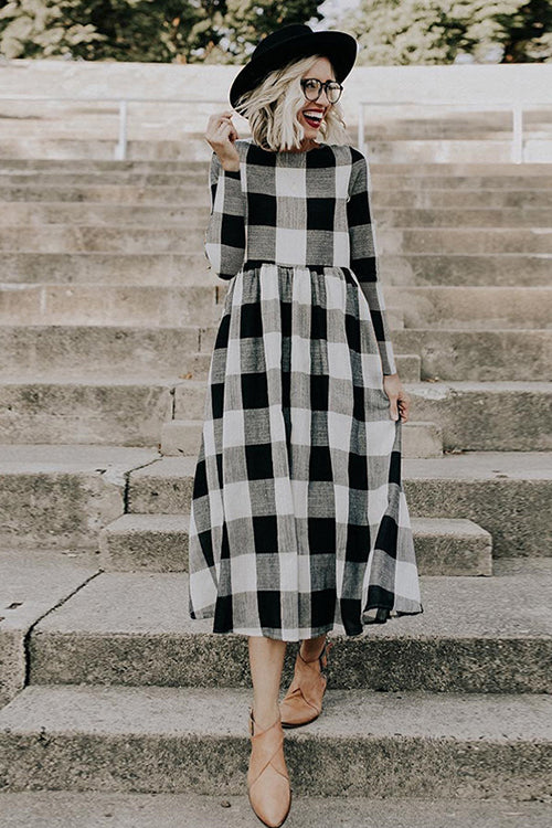 Casual Time Check Pattern Maxi Dress