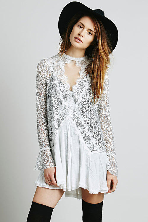 Catch Me See-through Lace Mini Dress