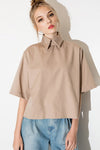 Overturned Collar Khaki Shirt