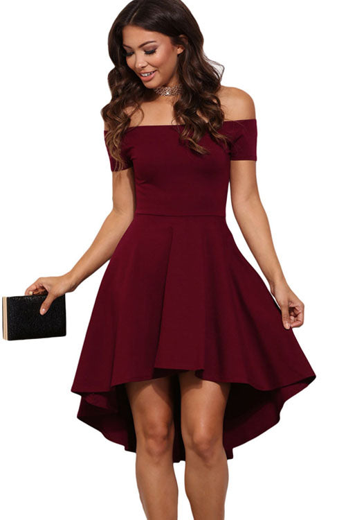 Pure Color Off Shoulder High-Low Dress