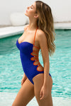 Orange Blue Tied-up Swimsuit