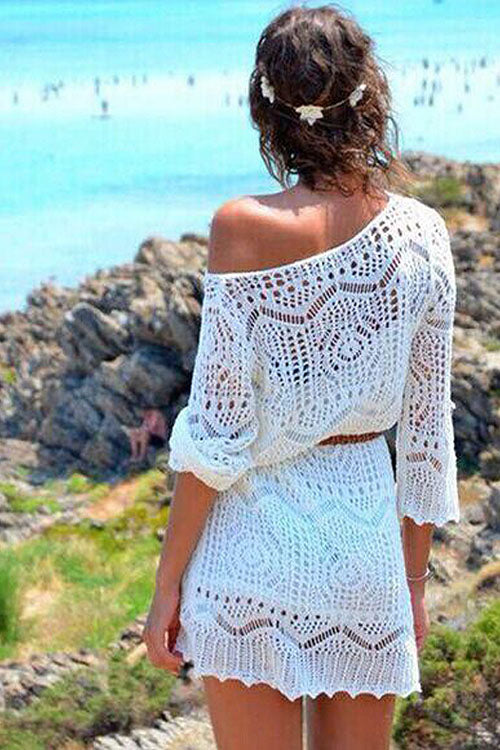 Hollow-out Lace Beach Mini Dress