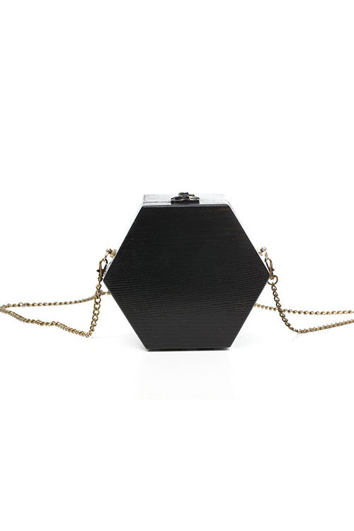 Black Hexagon Wooden Shoulder Bag