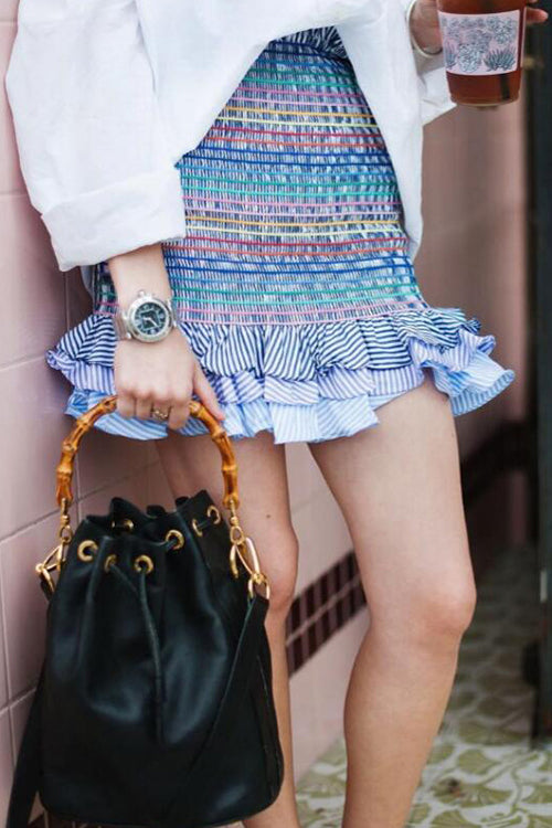 Blue Stripe Body-Con Ruffle Mini Skirt