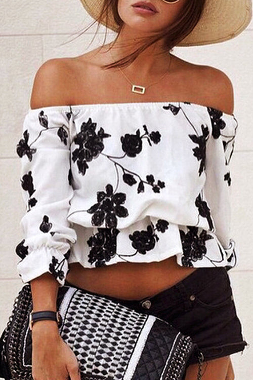 Off the Shoulder Print Blouse