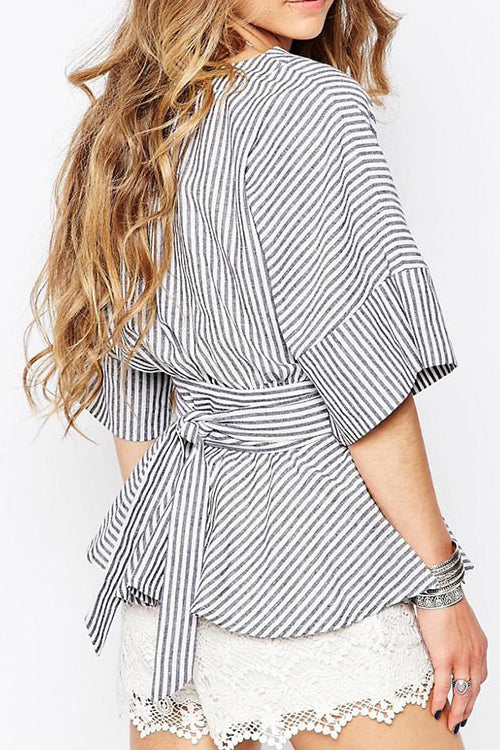 Stripe Waisted Bandage Shirt