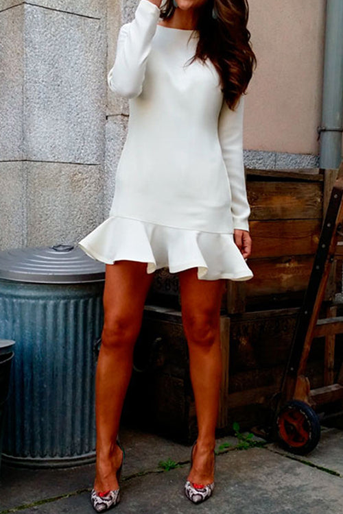 Heart Of Mine Long Sleeve Ruffle Dress