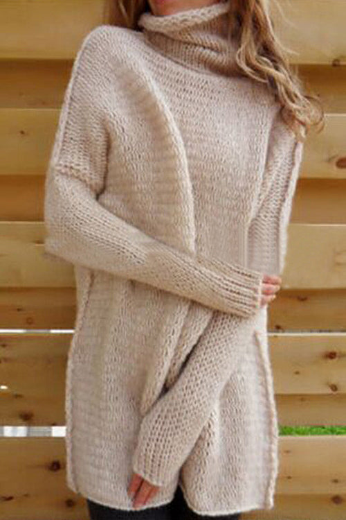 High Neck Batwing Sleeve Sweater