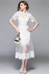 White Short Sleeve Lace Tulle Suit