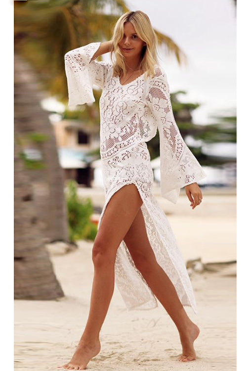 Hollow-out Backless Lace Beach Maxi Dress