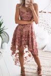Spaghetti Lace Embroidery High/Low Dress