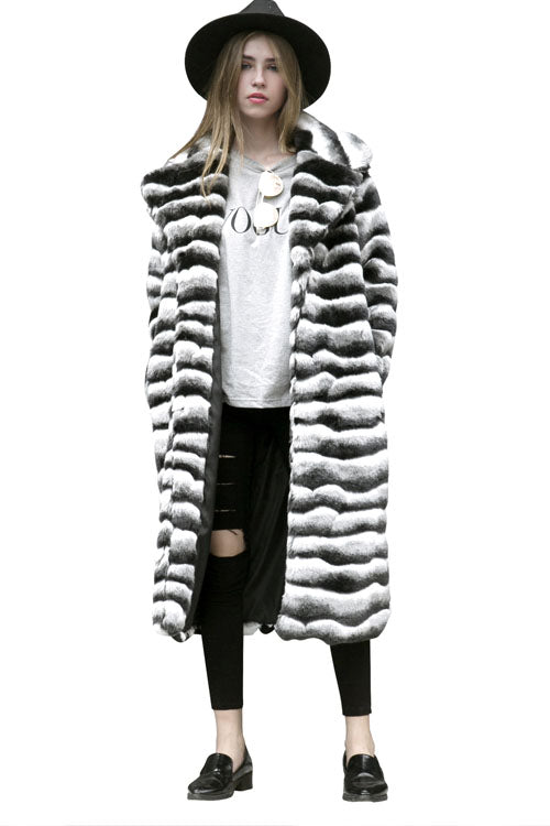 Mixed Colors Long Artificial Fur Coat