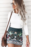 Dark Green Ethnic Embroidered Body-con Mini Skirt