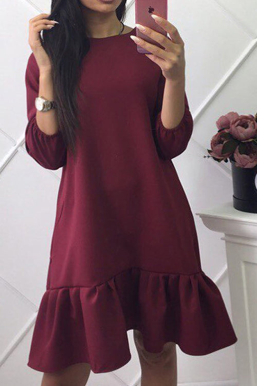 Puff Sleeve Ruffle Hem Mini Dress