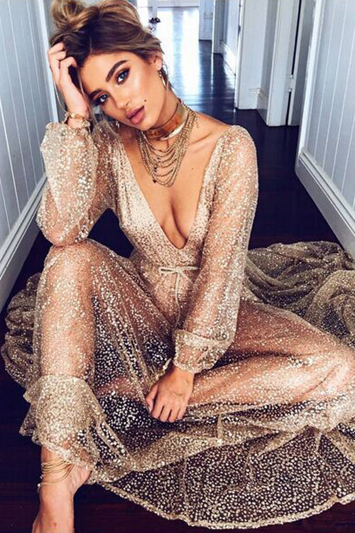 V-Neck See-Through Sequin Dress