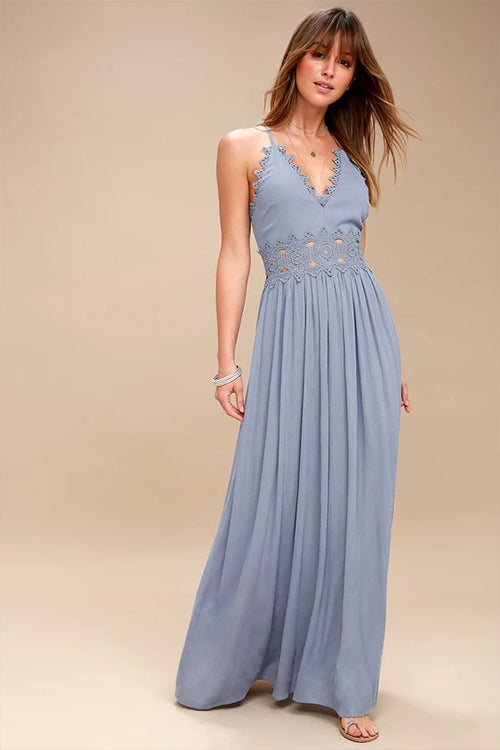 Blue Spaghetti Lace Maxi Dress