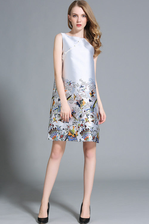 Chinese Style Sleeveless Side Scallop Skater Dress