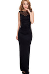 Black Hollow-Out High Side Slit Dress