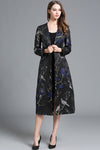 Long Sleeve Floral-embroidered V-neck Coat