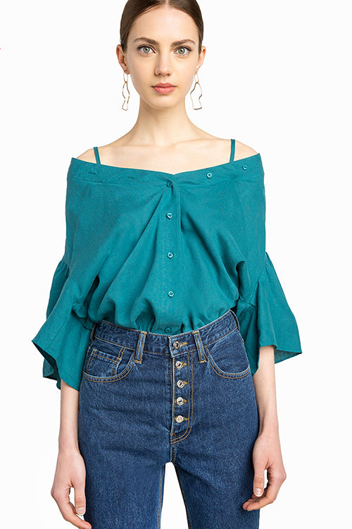 Off the Shoulder Ruffle Sleeve Shirt