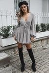 V-neck Tie Mini Dress