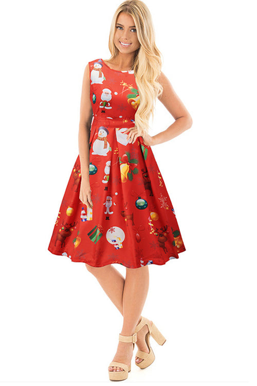 Christmas Print Red Sleeveless Dress