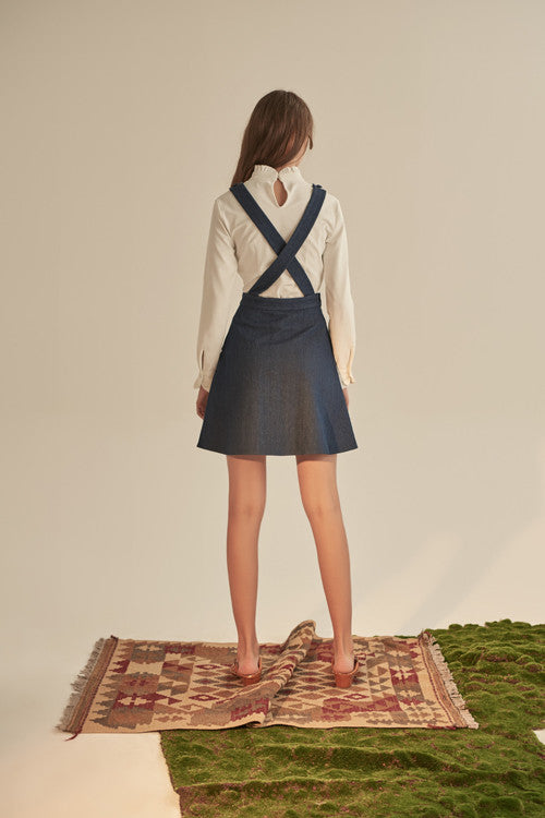 Denim Pocket Cross Back Suspender Skirt