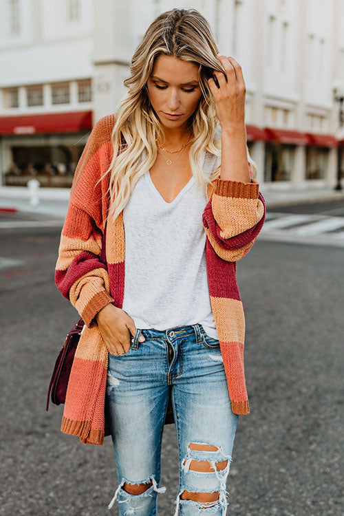 Multi Color Knit Coat