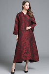 Embroidered Long Sleeve V-neck Coat