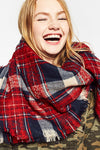 Red Checked Cashmere Fall Scarf