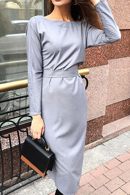 Elegant Back Button Down Tie Midi Dress