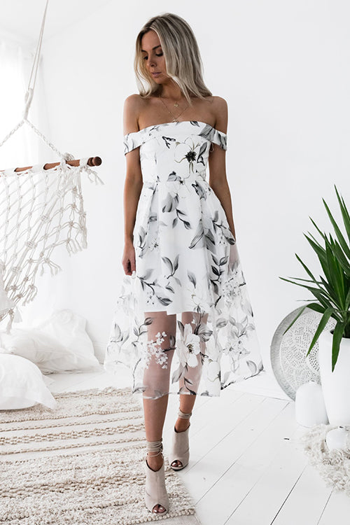 Floral Print Off Shoulder Tulle Midi Dress