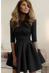 Black Fit-Flare Half Sleeve Midi Dress