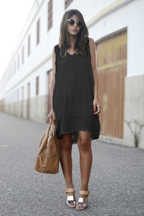 V-Neck Sleeveless High/Low Dress