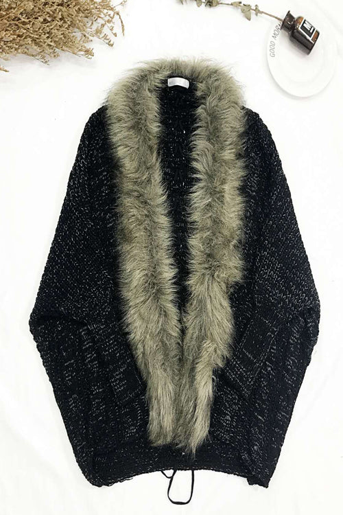 Artificial Fur Collar Long Cardigan