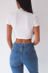 High-neck Tie Side Short Sleeve Crop Blouse