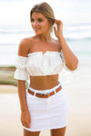 Ruffle Neckline Off the Shoulder Crop Tank