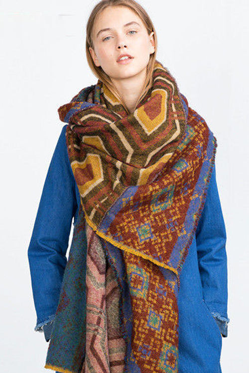 Ethnic Print Fall Scarf