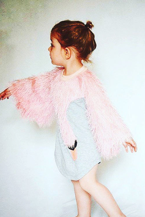 Pink Swan Fluffy Sleeve Baby Dress