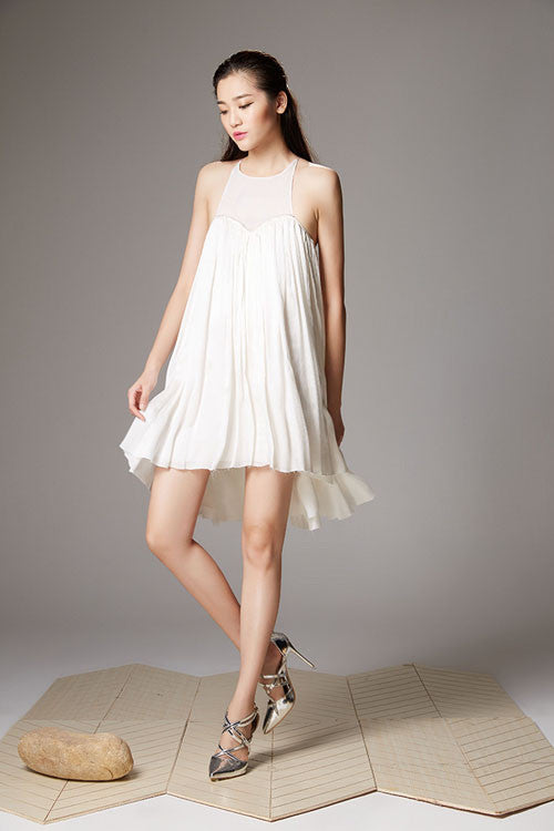 Tulle Drape Cross Back Skater Dress