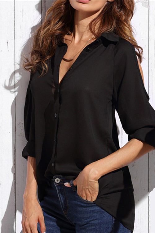Long Sleeve Chiffon Black Shirt