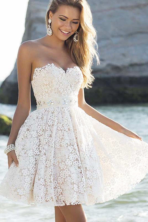 Sleeveless Lace Hollow-out Mini Dress