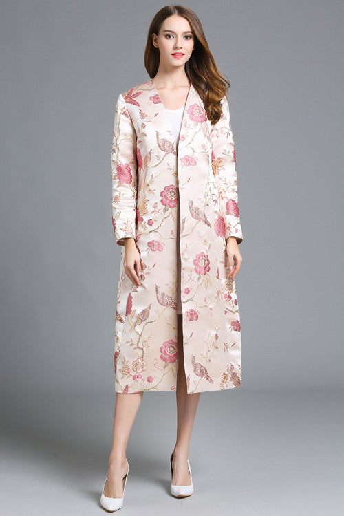 Long Sleeve A-line Embroidered Coat