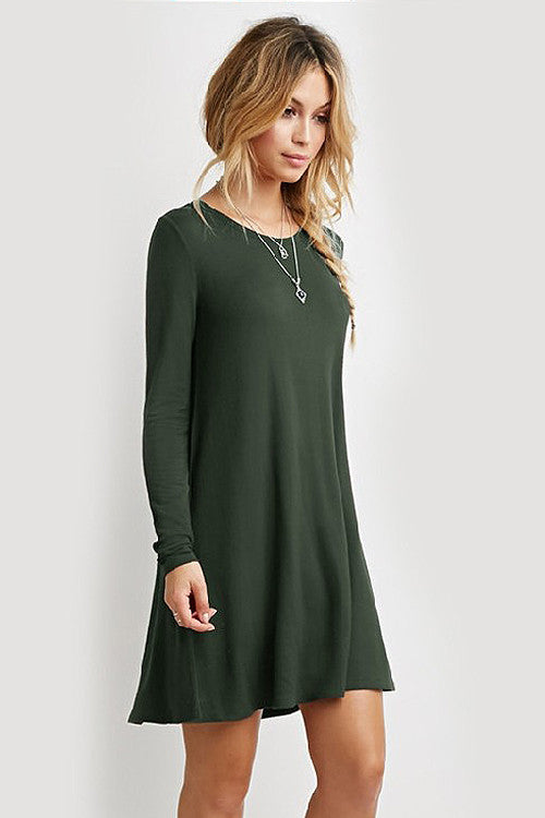 Crew Neck Long Sleeve Ruffle Skater Dress
