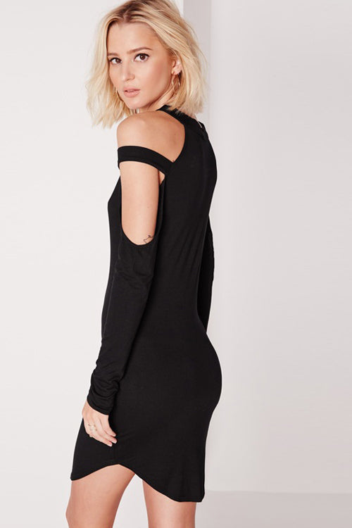 Halter Neck Cold Shoulder Dress