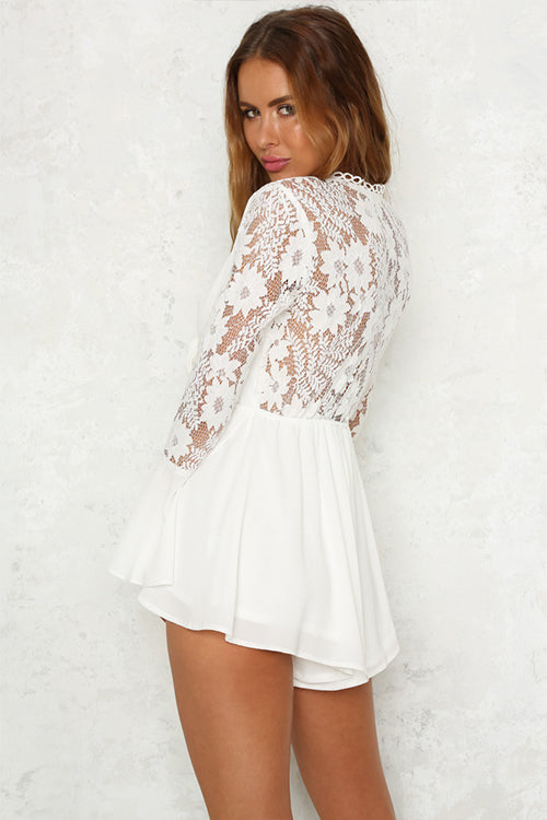 White V-Neck Tie Front Lace Mini Dress